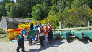 Tidying up the canoes!
